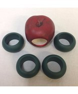 Apple Napkin Ring Set 5 Pc Green Red Figural Table Decor Fall Decoration... - $11.87