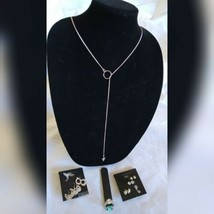 Fashion Jewelry Silver Tone Earring Ring Spearhead Long Necklace Set Hol... - $35.06
