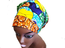 "Royal Blue & Yellow African Fabric Ankara Prints Head Wrap Scarf - 20"" X 7"" - $14.99"