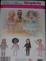 """18"""" Doll Clothes Sewing Pattern Dance Tutu Leotard Slippers Simplicity 1243 - $8.41"""