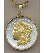 J&J Coin Jewelry U S Morgan Silver Dollar Gold on Silver Necklace - $207.85
