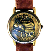 Police 'To Protect And To Serve' Fossil Watch Raised Bronze Tones Dial C... - $157.26