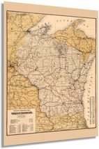 1900 Wisconsin Map Poster - Vintage Wisconsin Map Wall Art - Old Wisconsin State - $34.99+