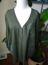 sonoma life + style 2X green floral sweater cardigan 100% cotton - $15.00