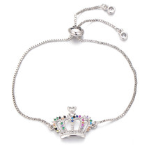 Pipitree Multi Cubic Zirconia Crown Bracelet Femme Rose Gold Color Slide... - $13.19