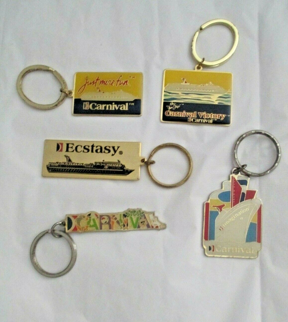 Primary image for Souvenir Caribbean Cruise Ship Key Chain Ring Mixed Lot of 5  Metal Enamel