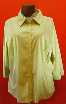 Apt 9 Green 3/4 Sleeve Button Down 3X Shirt Green Button Down Top 3X Plu... - $7.99