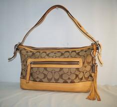 "Coach Classic Canvas Logo Brown Tan Leather Trim Shoulder Bag Purse 12x7"" - $1.405,76 MXN"