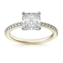 1.40CT Cushion Cut Forever One Moissanite Two Tone Gold Ring With Diamonds - $1,076.63+