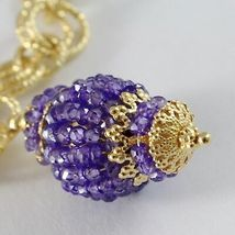 Necklace Silver 925 Yellow Gold Plated with Pendant Milled and Amethyst image 3