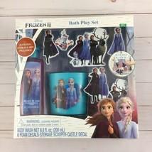 Disney Frozen II Bath Play Set Body Wash Foam Decals Storage Bin Elsa Anna  - $12.16