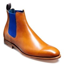 Handmade Men's Tan Leather High Ankle Chelsea Boots image 4