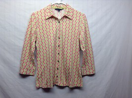 Pink/White w Green Floral Print Geometric Design Long Sleeve Shirt Sz Child M