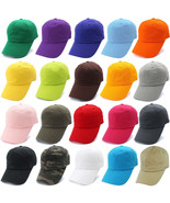 Polo Style Washed Plain 100% Cotton Adjustable Baseball Caps Solid Curve... - $4.95