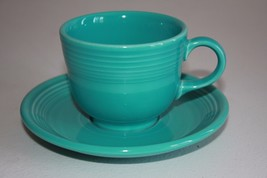 Vtg Homer Laughlin Fiesta Ware Cup Saucer Turquoise - $11.40