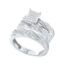14K White Gold Ladies & Mens Round Diamond Bridal Wedding Ring Set Trio 0.50 Ct - $159.28