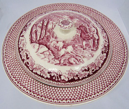 RED HOMER LAUGHLIN CURRIER & IVES PARTRIDGE SHOOTING ROUND LID VEGETABLE... - $44.55