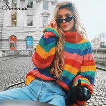 Simenual Rainbow turtleneck sweaters women winter 2018 jumpers knitted c... - $42.99