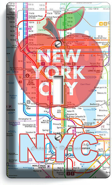 NYC NEW YORK CITY BIG APPLE SUBWAY MAP LIGHT SWITCH OUTLES WALL PLATE ROOM DECOR image 2