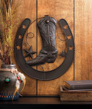 Western Cowboy Boot with Spurs Inside Horseshoe Wall Plaque Decorated with Stars - $28.95