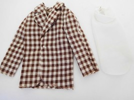 Vintage 1973-76 Mod Hair Ken Brown & White Check Jacket & White Nylon Dicky - $12.99