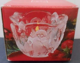 """Mikasa Holiday Lights Candleholder Tealight Votive 3"""" Angels Trees Clear Glass - $5.99"""