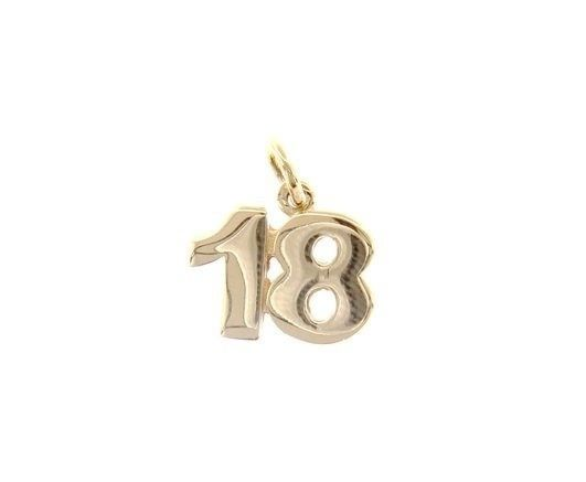 18K YELLOW GOLD NUMBER 18 EIGHTEEN PENDANT CHARM 0.7 INCHES 17 MM MADE IN ITALY