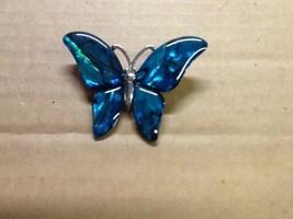 Vintage Blue Turqouise Butterfly Cloisonne enameled Lapel Pin - $6.93