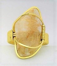 Rutile Quartz Gold Wire Wrap Gemstone Ring 11 - $10.32