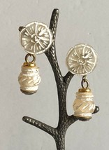 """Vintage White Carved Lucite Flower & Drop Bead Clip on Earrings 1"""" x 2"""" - $24.15"""