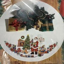 "Bucilla SANTA CLASSIC Counted Cross Stitch Kit 42"" Round Tree Skirt #83110 - $29.67"