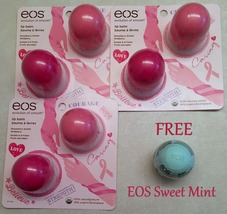 3 x EOS Lip Balm Breast Cancer Limited Set Strawberry/Wildberry + FREE E... - $19.99