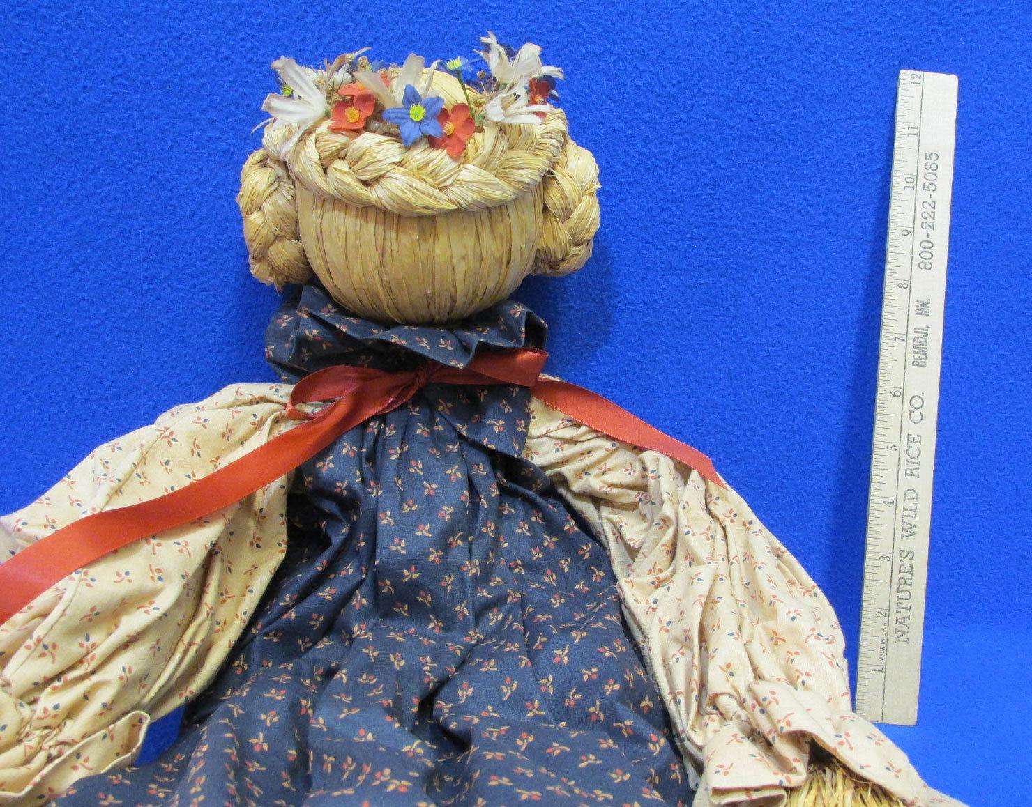 Vintage Handmade Straw Rag Doll Navy Blluw Tan Country Fabric Dress Straw Body