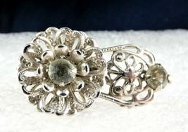 Vintage Sterling Silver Filigree Crystal Rhinestones Flower Clip Brooch - $34.65