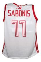 Arvydas Sabonis #11 CCCP Russia Basketball Jersey New Sewn White Any Size image 2