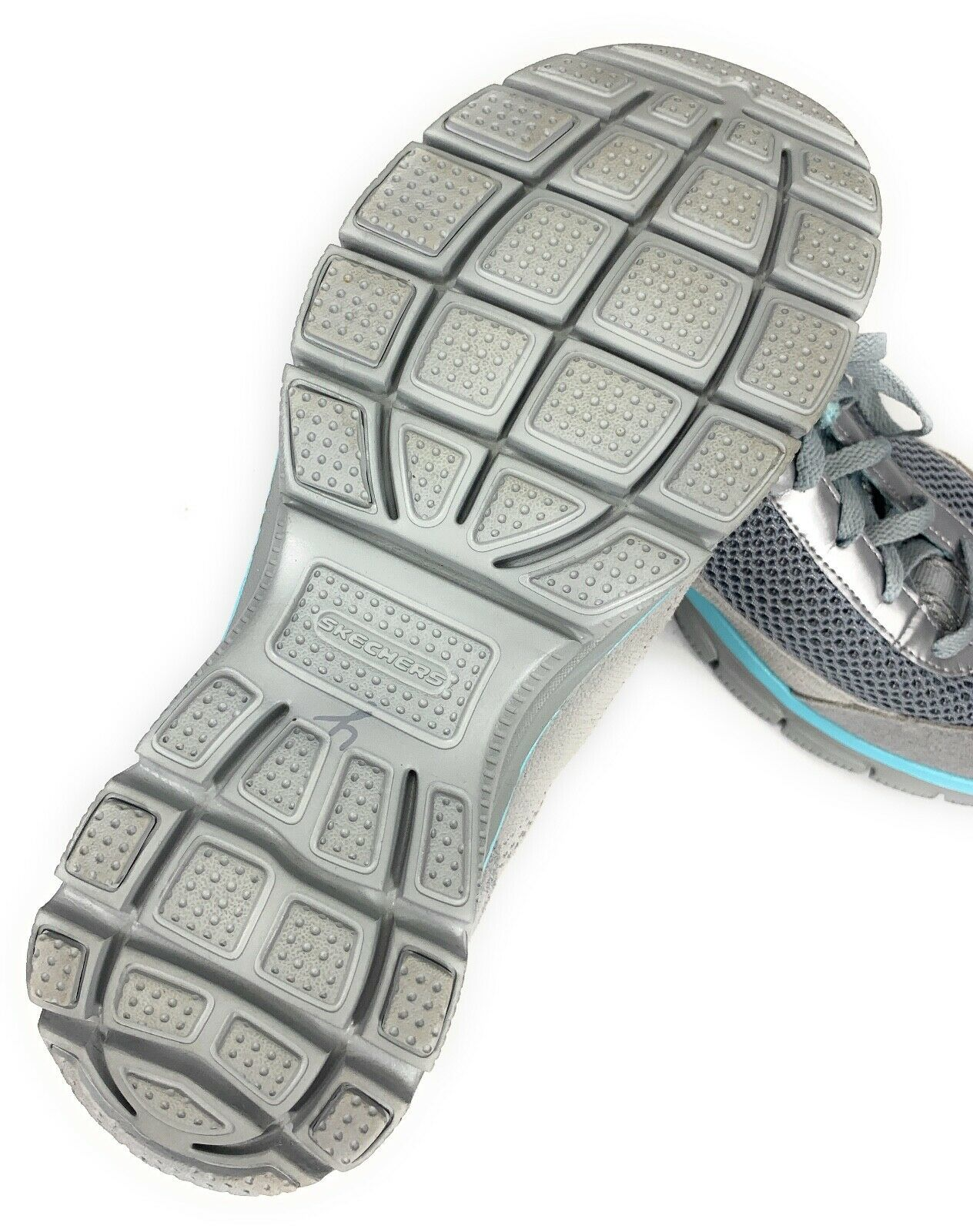 Skechers Relaxed Fit Memory Foam Gray Blue Sneakers Shoes Women's 9