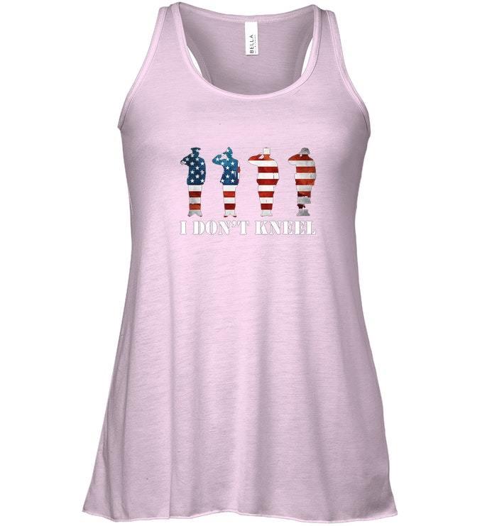 I Dont Kneel I Stand For Anthem USA Flag Flowy Racerback Tank image 3
