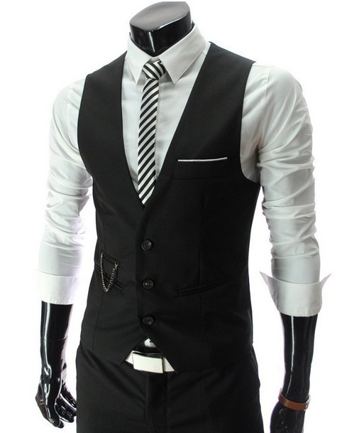 Men's Fitting V-Neck Single Breasted Vest