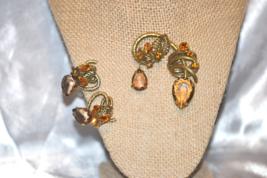 Vintage Signed Ledo Amber Brown Rhinestone Brooch with Earrings - $98.00