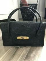 Vintage Black Leather Embossed Floral Handbag Purse Red Interior - $60.73