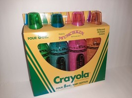 Vintage New CRAYOL A 8oz Munchkin Baby Bottles Set of 4 1993 In Box Crayons - $49.50