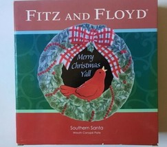 Fitz And Floyd Merry Christmas Yall Southern Santa Canape Wreath Bird Plate - $23.58