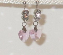 Faceted Glass Pink Heart with Silver Plated Crystal Dangle Earrings HC - $11.88