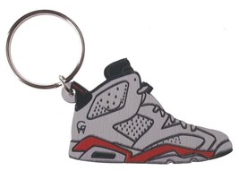 Good Wood NYC Infrared 6 White Sneaker Keychain Wht/Blk VI Shoe Key Ring key Fob