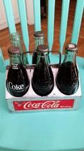 Coca Cola Six Pack Metal Carrier Regular Size Coke W/4 Full Bottles Of Coca-Cola - $38.61