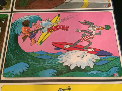 Vintage Looney Tunes Laminated Children's Kids Placemats From PEPSI Complete Set