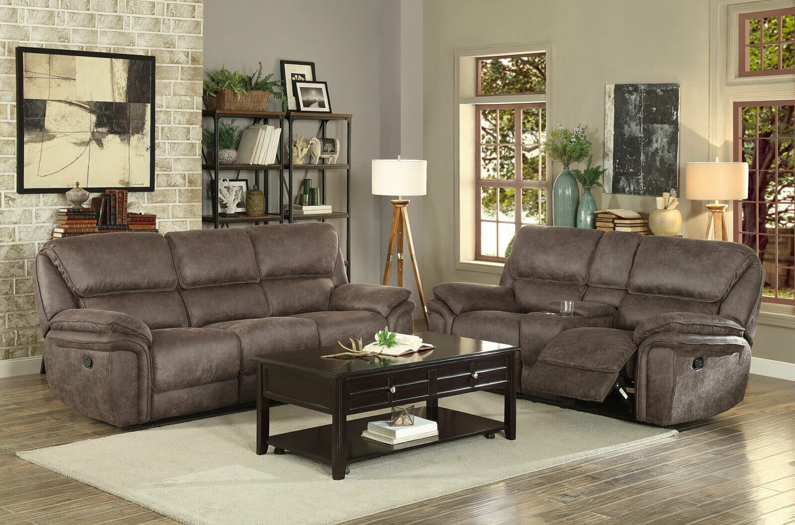 New living room brown fabric reclining sofa couch set with - Fabric reclining living room sets ...