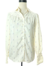 Vintage 1970's Gregory Ivory Cream Paisely Print Blouse Size Medium 6 - $16.00