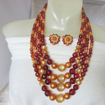 Vintage 4 Strand Bib Cascade Necklace & Earrings Rich Shades Brown Amber... - $43.20
