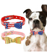 Small Dog Bow Tie Collar US Flag Soft Padded for Pet Puppy Cat Yorkshire Pug S-L - £8.61 GBP